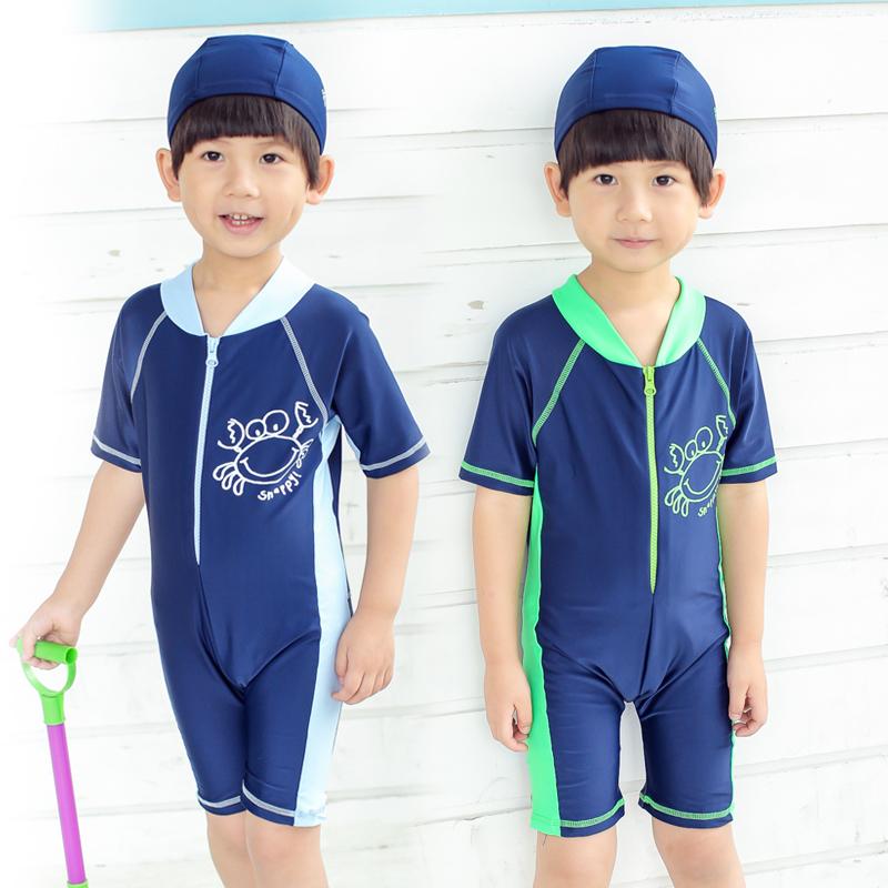 兒童連體泳衣防曬中小童男孩子沙灘裝 男寶寶短袖連體遊泳衣螃蟹