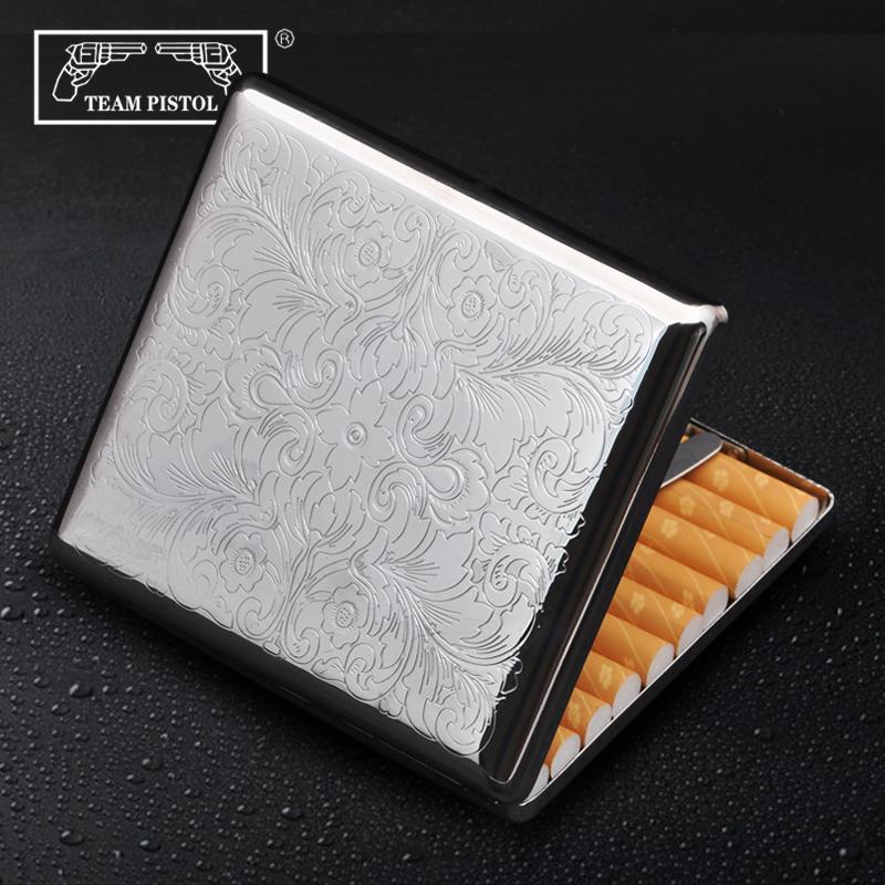 双枪烟盒 20支金属烟盒 个性创意  烟盒327富贵花 防潮烟盒香菸盒