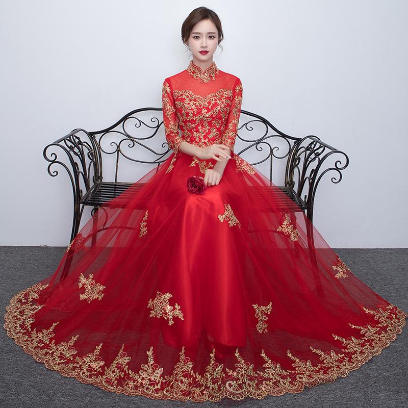 敬酒服新娘2017 立領長款紅色中式結婚禮服女 長袖顯瘦蕾絲