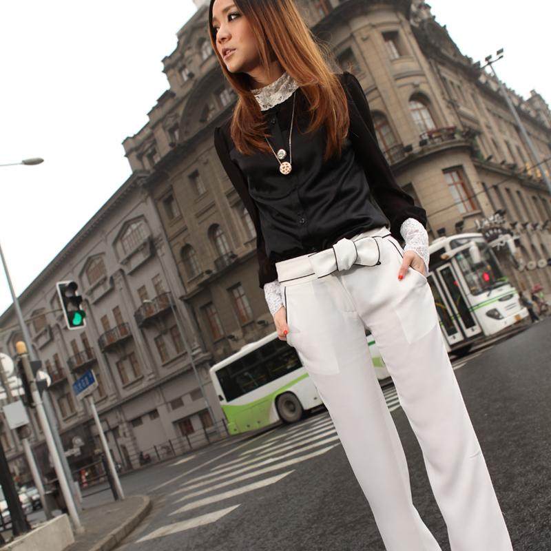 高端量身私人订制女装春装白色长裤女新款夏小喇叭薄连衣裤修身