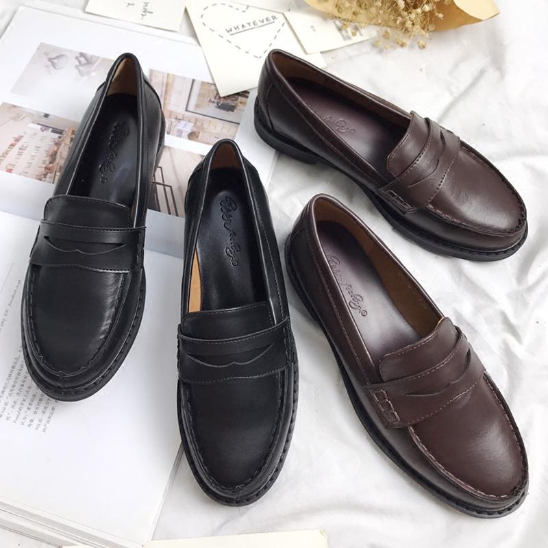 新款韩版女鞋英伦平底小皮鞋软妹复古学生JK制服鞋学院风浅口单鞋