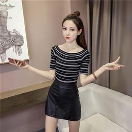 2020韩版新款一字领条纹套头针织衫女修身显瘦学生五分袖打底衫潮