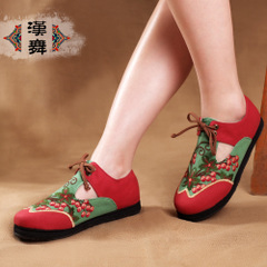 Genuine clearance national wind hollowing out Han dance shoes women's flat the end of old Beijing layer breathable embroidered women's gem