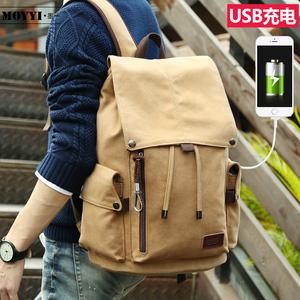 墨一韩版男士背包休闲双肩包旅行包复古帆布包男包学生书包电脑包