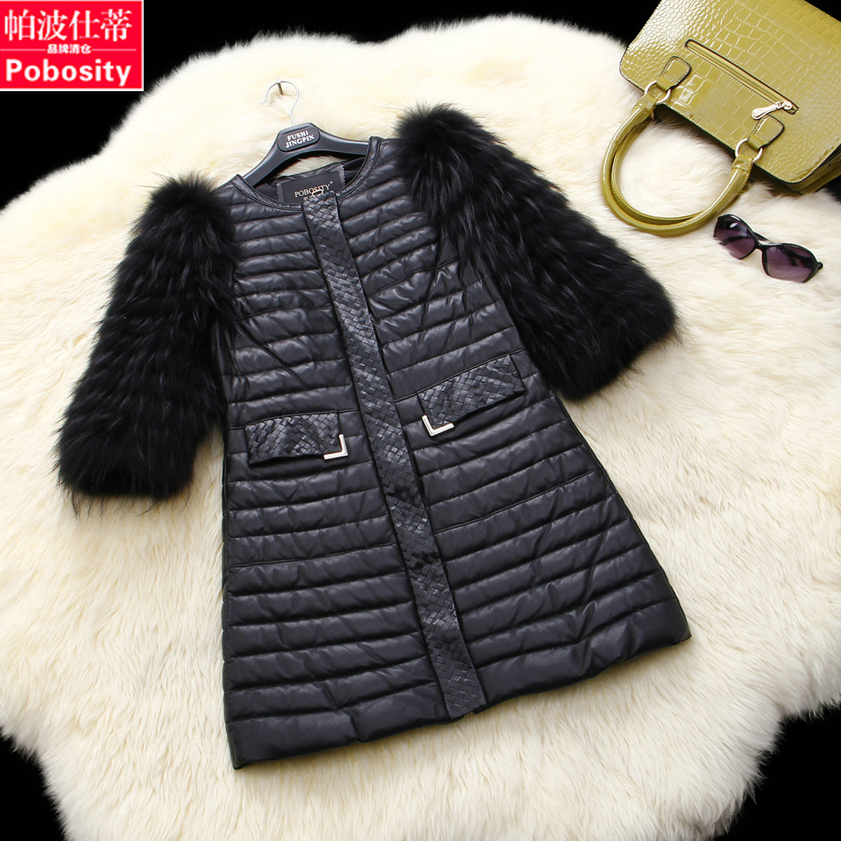 Paabo Ши Haining кожа кожа женщин енот ножке 2016 новые волосы овец кожи перо куртка 2505CWD