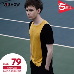 Viishow2015 summer dress new style t-Europe, plus size short sleeve solid color short sleeve round neck short sleeve t-shirt short sleeves