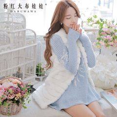 Vest woman pink doll spring 2015 new ladies fur vest with fur vest