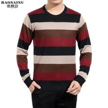 Autumn new men's middle-aged men long sleeve T-shirt wool blended knitting round collar T-shirt stripe dad