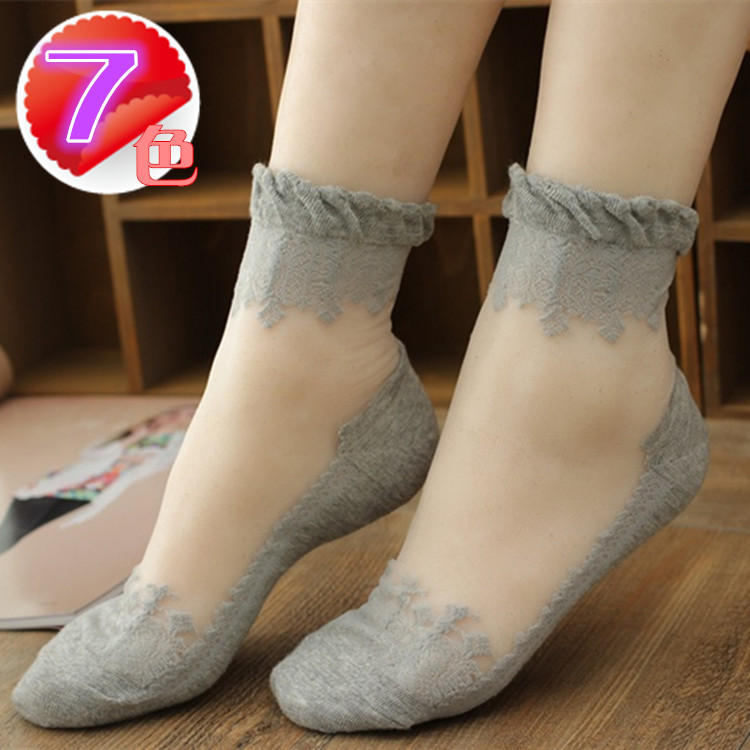 5 pairs of lace lace socks transparent invisible socks antiskid crystal socks thin glass stockings summer womens socks
