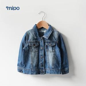 mipo童装 春款纯棉男小童牛仔外套宝宝牛仔衣儿童外出衣服春秋潮