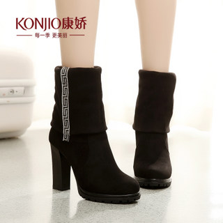 Kang Jiao fall fall/winter women's boots boots in a new dual-use coarse with high heel women boots casual Korean version of foot