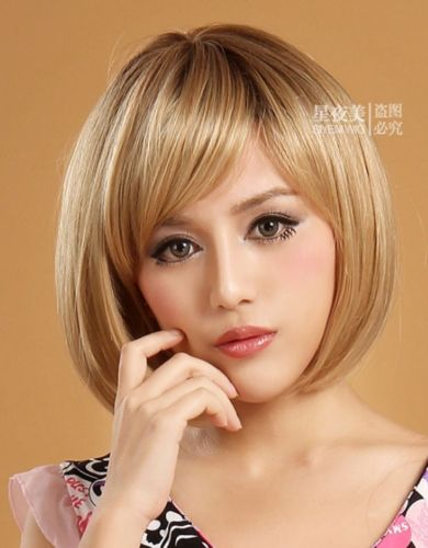 Role play women's short blonde hair straight heat resistant party hair all wigs