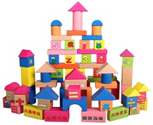 KaiYe children wooden blocks idioms in number 100 grain of infant baby intelligence educational wooden toys