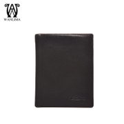 Wan Lima 2016 new wallets men's money clip short solid European fashion leather wallet