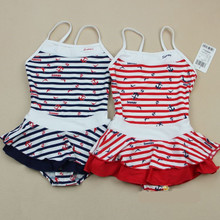 Snoopy counters authentic girls lovely girl stripe one-piece skirt with shoulder-straps 2 us45103 bathing suit