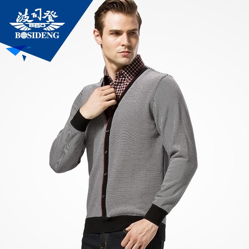 波司登男士加絨假兩件 襯衫領保暖上衣 男加厚針織單件保暖衣