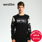 Westlink/XI 2015 winter new Europe and Chao printed in English men's heads straight casual sweater