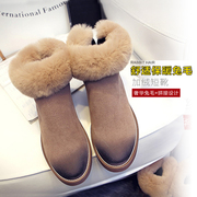 New Korean version 2015 winter boots rabbit fur snow boots anti-slip thickened and velvet boots and bare boots warm shoes