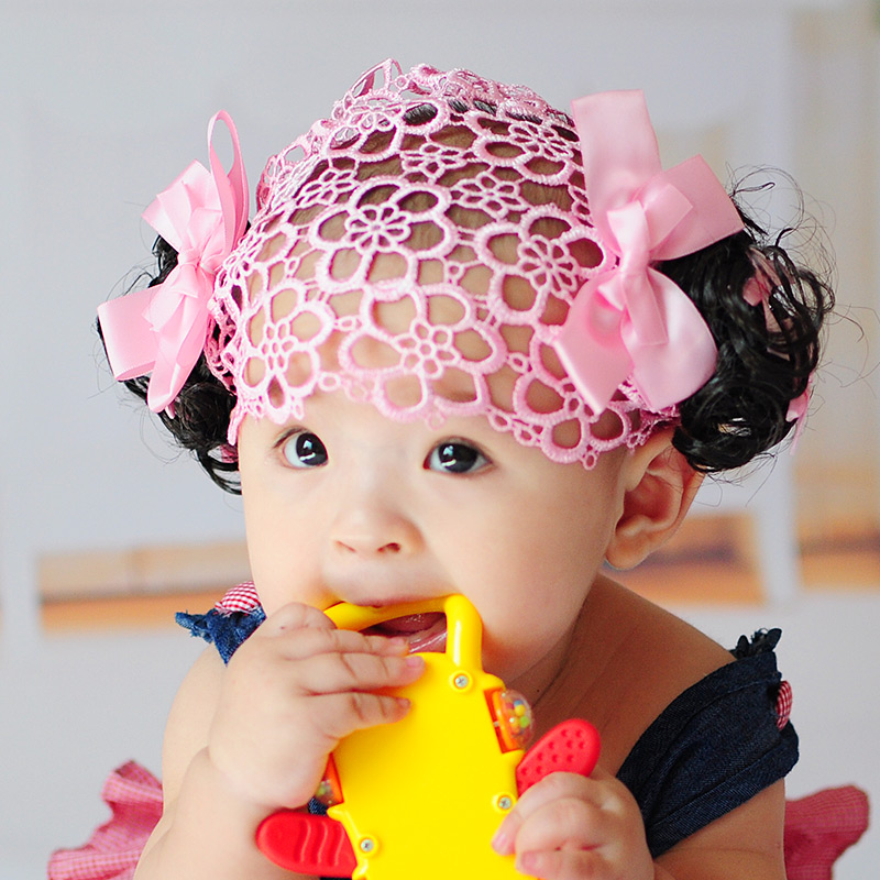 Package post Korean childrens hair accessories baby hair band headdress cute girl accessories baby wig Net Photo