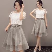 taobao agent 春装新款小清新套装裙 2017夏季蕾丝两件套连衣裙中长款显瘦裙子
