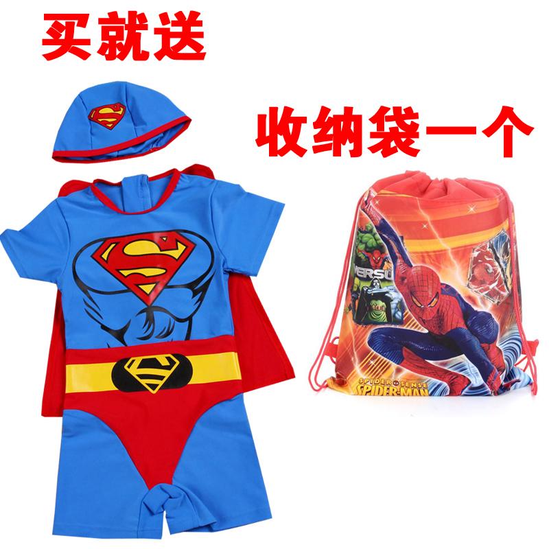 Детская СЕРФ Купальник цельный Купальники мальчиков мужчин платье ребенка Супермен в купальнике небольшой плавательный спа Cap одежда