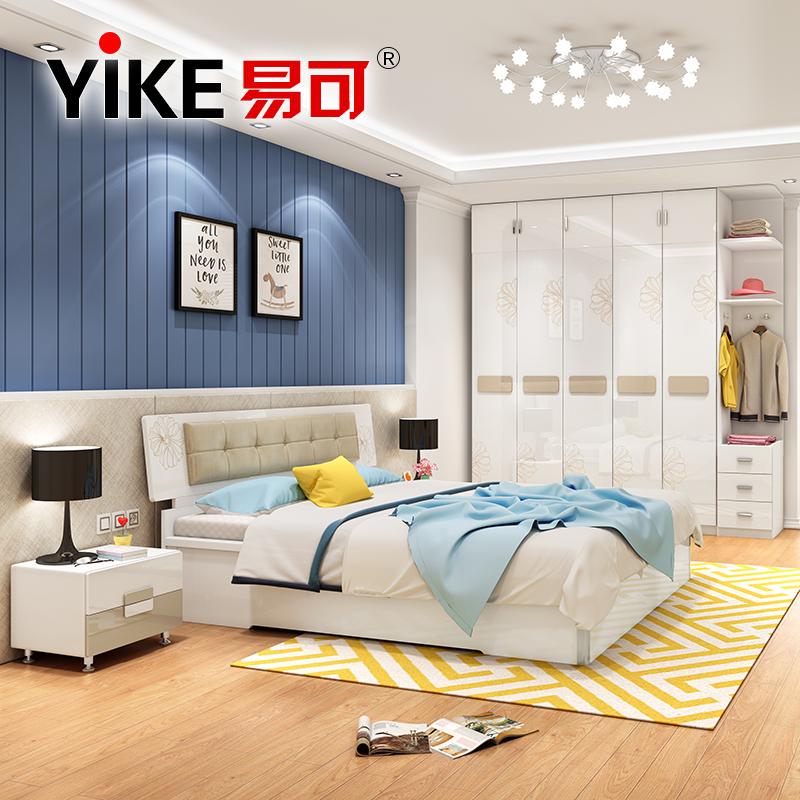 Легко может спальня полный мебель набор комбинации простой современный 1.8 3м кровать гардероб спальня кровать установите