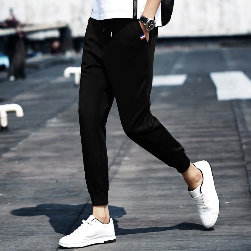 夏季男士哈伦裤束脚裤休闲运动卫裤收口九分裤男小脚裤宽松长裤子