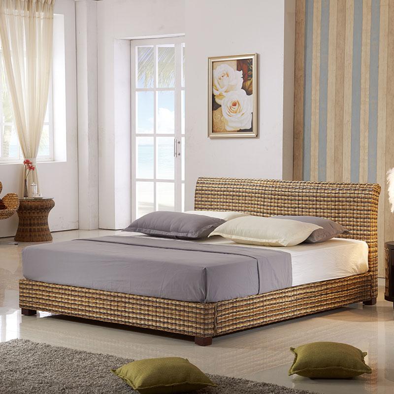 Виноградная лоза кровать двуспальная кровать ротанг виноградная лоза искусство кровать персональные настройки страна стиль к юго-востоку азия нордический мебель 1.8M