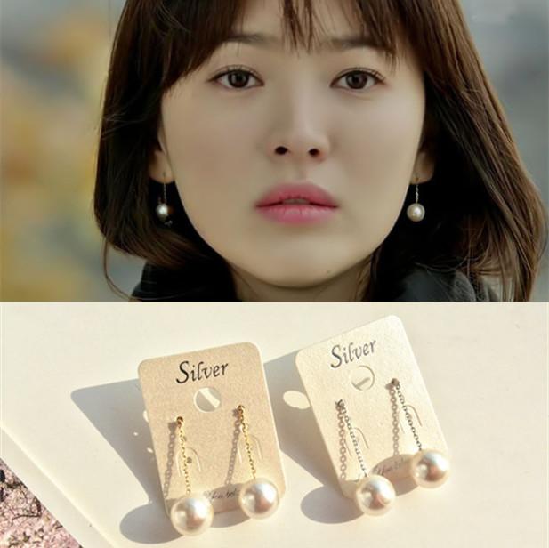 Korean imported earrings pearl earrings Song Hye Kyos simple and elegant pearl earrings earrings