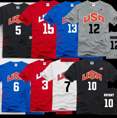 USA梦十队t恤 美国男篮梦之队球衣 安东尼 科比 詹姆斯 纯棉短袖