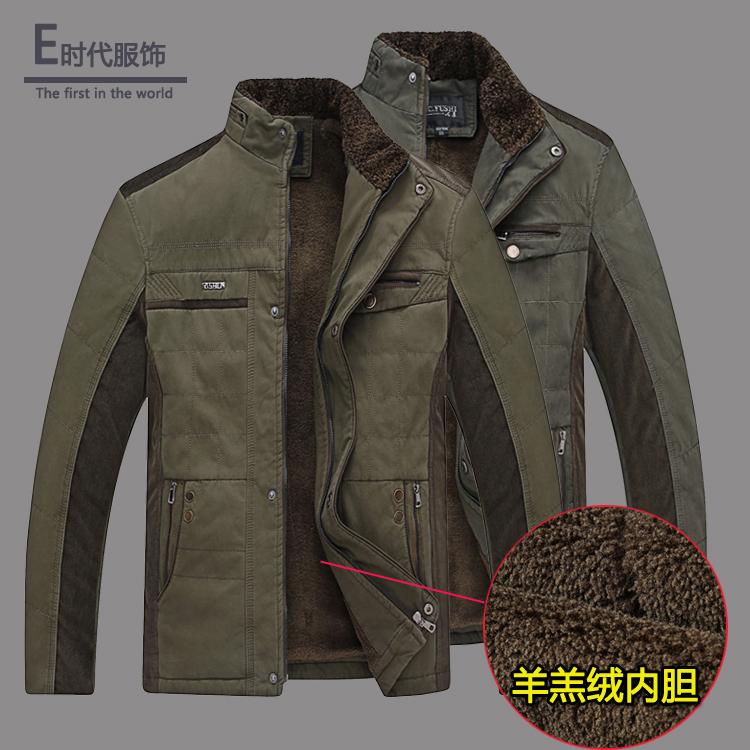 Среднего возраста мужчин среднего возраста и пожилых мужчин и velvet Мягкий воротник куртка зимняя куртка хлопка куртка пальто папа