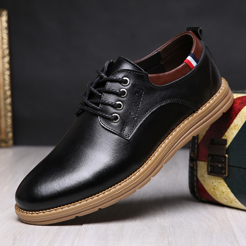British popular mens shoes spring and autumn fashion shoes business casual shoes mens leather low top single shoes lace up