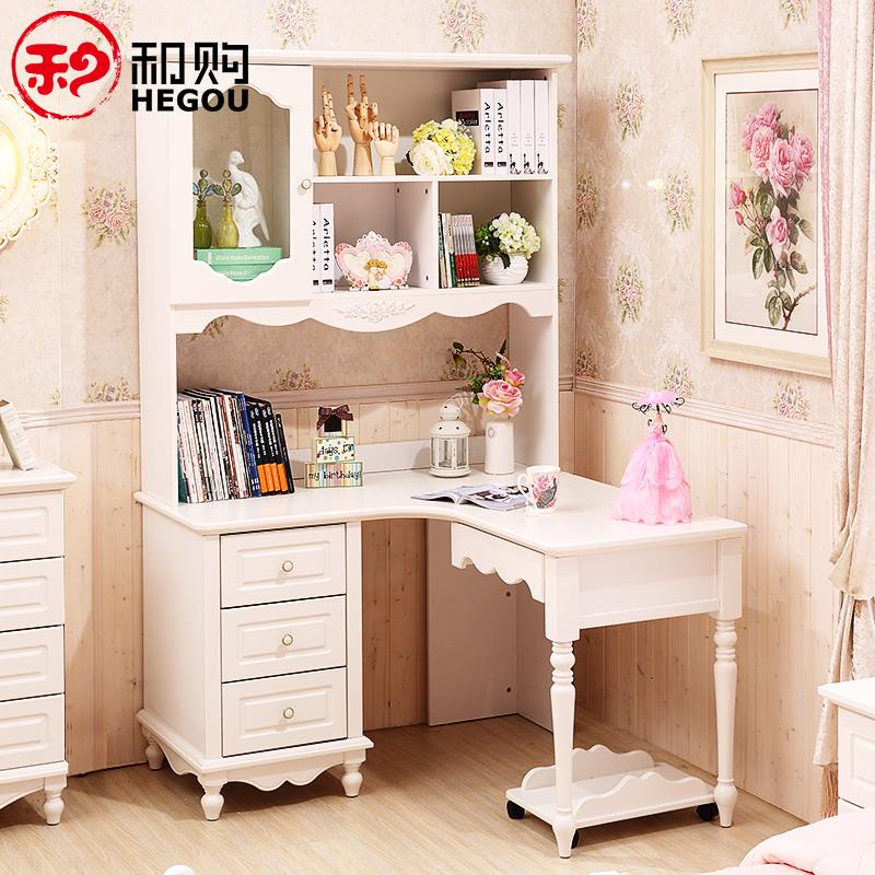 Спокойный покупка мебель сельская местность письменный стол книжный шкаф сочетание книга дом дерево стол угол сиамский компьютерный стол HG082
