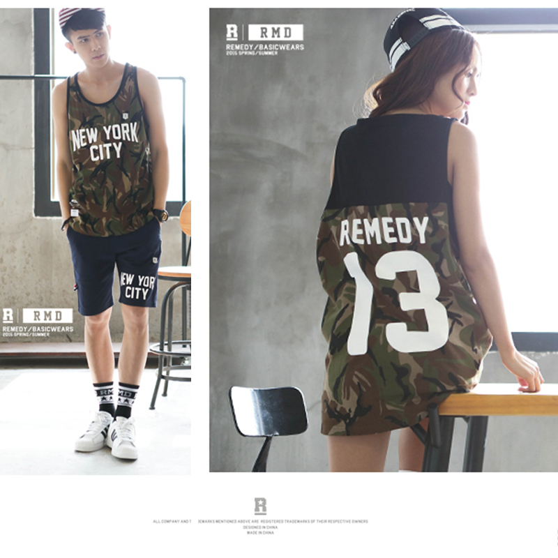 Chaopai summer mid long youth basketball camouflage printing loose beach couple trend vest for men and women