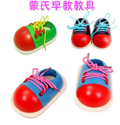 儿童木制穿鞋带系鞋带拼板 幼儿园宝宝蒙氏早教教具益智玩具