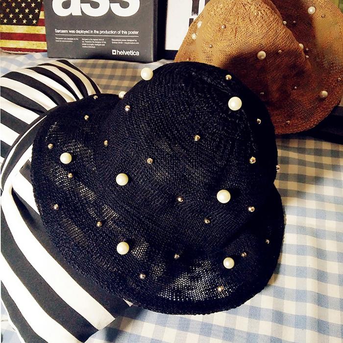 韓國 黑色優雅珍珠花朵大簷折疊禮帽漁夫帽防曬遮陽帽女潮帽子