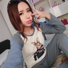 Pajamas pure female knitted cotton long sleeve in the spring and autumn summer big yards cute girl cardigan ms leisurewear suit