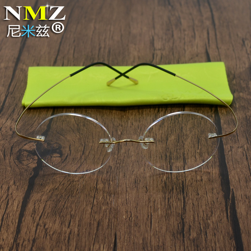 Pure titanium rimless ultra light crown princes mirror round frame radiation proof glasses nearsightedness with tide mirror Retro