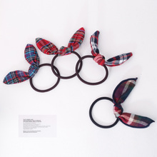 South Korean fresh plaid splicing British bowknot tire hair hair rope College town rope sinews