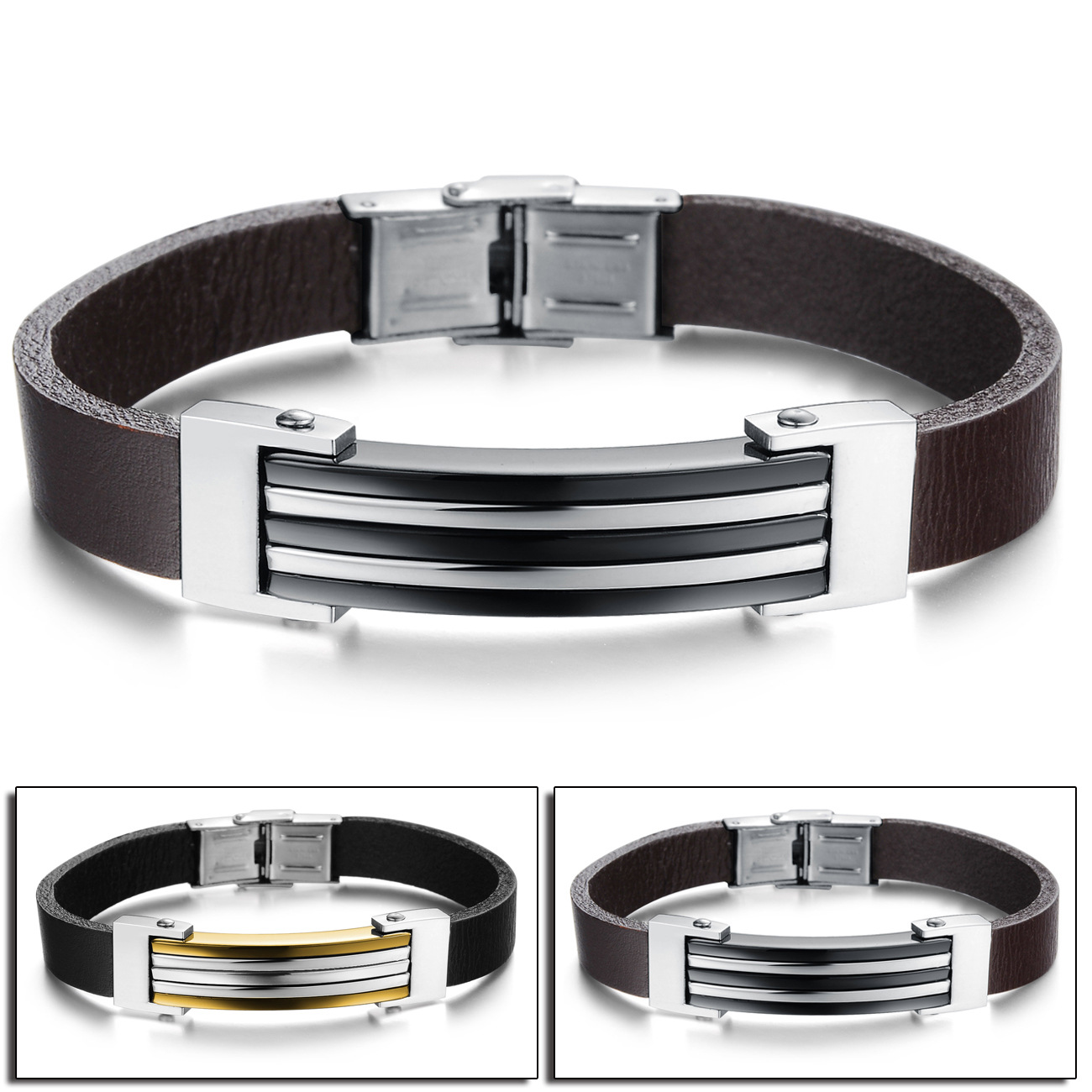 European and American punk rock trendsetter mens Titanium Steel Leather Bracelet Fashion Accessories bracelet bracelet Valentines Day gift