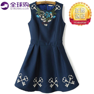 Blue street style embroidered sleeveless pleated dress