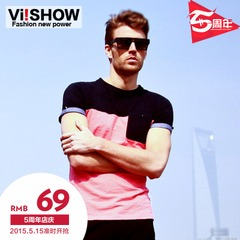 Viishow men's short sleeve summer t-shirt t self t tide tide men's short t shirt stitching t Europe wind