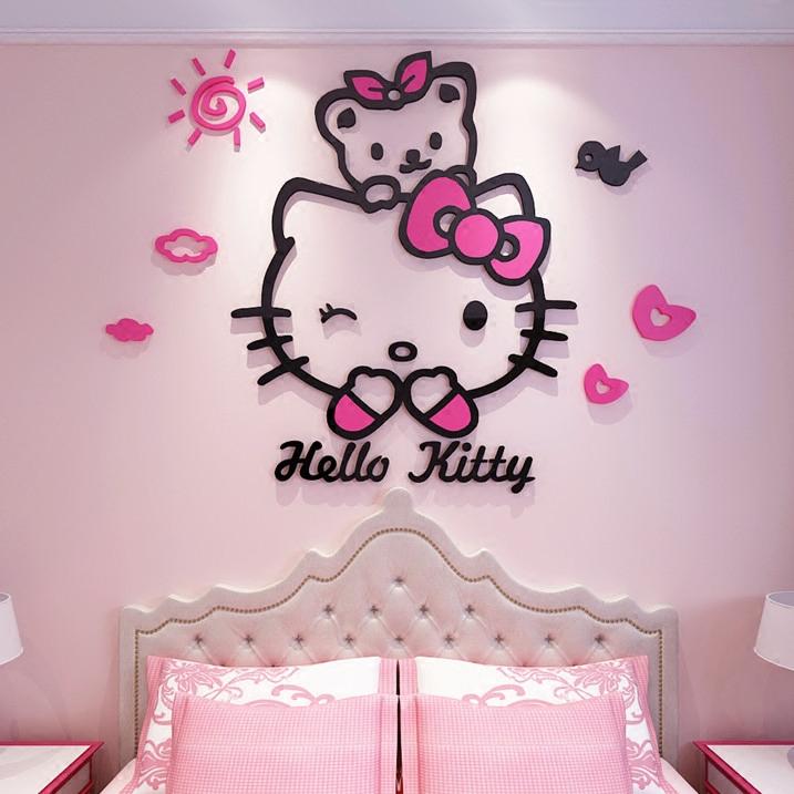 hellokitty猫亚克力3d立体墙贴儿童房卡通贴纸卧室床头墙壁装饰品