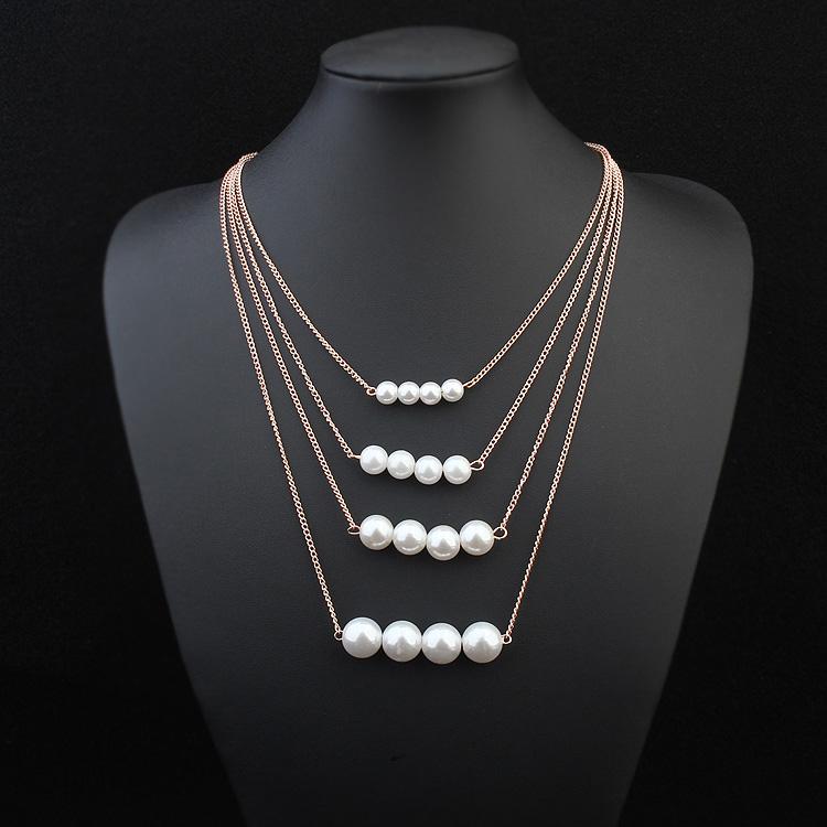 休闲居饰品 1512潮 时尚 女生 欧美优雅多层珍珠项链
