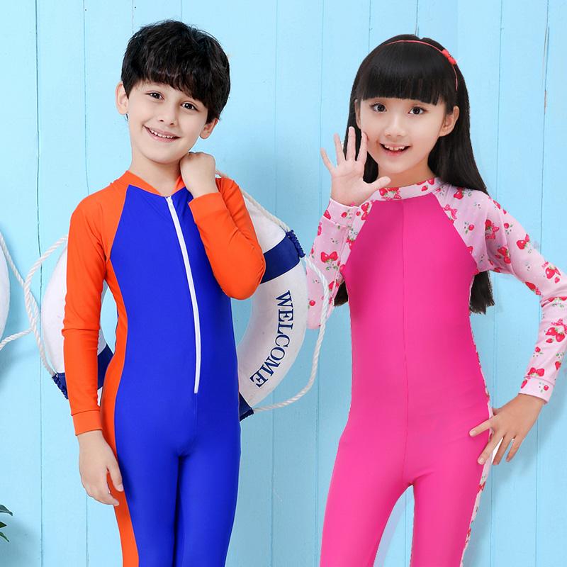 兒童泳衣中大童公主女孩長袖連體防曬男童遊泳衣溫泉保暖女童泳衣