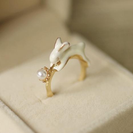 日本訂單可愛森系小清新超萌動物造型釉滴兔子賣萌卡哇伊戒指指環