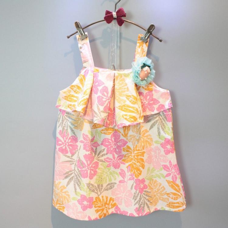 Детей летом 2016 новый южнокорейский ребенка девочек мода цвет ремень детей клубники платье