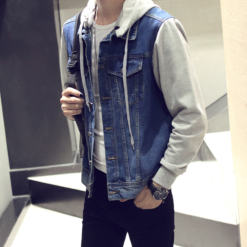 Mens autumn and winter new coat Korean version slim fit fake two denim jacket hooded fat and large package