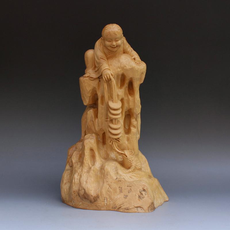 大汉九鼎 刘海戏蟾黄杨木雕摆件 木雕工艺品 全手工根雕摆件