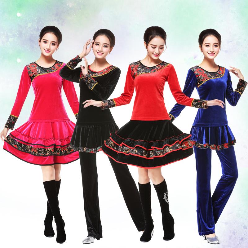 多拉芬廣場舞服裝 套裝金絲絨中老年加厚舞蹈服跳舞衣服兩件套